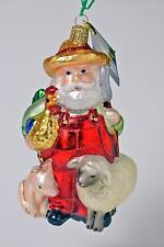 FARMER SANTA & ANIMALS E-I-E-I-HO-HO-HO! OLD WORLD CHRISTMAS GLASS ORNAMENT NEW