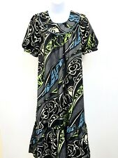 VTG Hawaiian House Dress Tribal Muumuu Turtle Waves Blue Green Gray Pocket Large