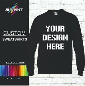Custom Printed Text Personalised SWEATSHIRT Jumper Work Wear Sweat ShirT