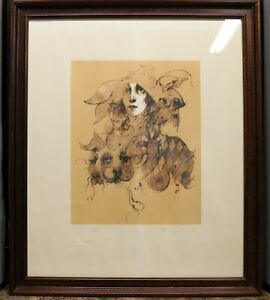Ramon Santiago, Woman and Dog, Framed, Lithograph, signed in pencil 18/100