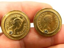 Vintage  Pair  COINS    Cufflinks Gold Tone HALF PENNY 1945 ELIZABETH II REGINA
