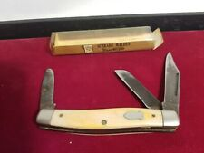 Vintage Schrade Walden USA 881Y Yellow Delrin 3 Blade Serpentine Pocket Knife