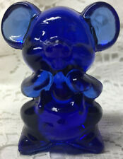 Blue Vaseline glass Willie Mouse Rat animal uranium cartoon cobalt hamster glows