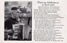 """Liederkarte """"Wenn das Schifferklavier an Bord"""" aus Wunschkonzert von Just Scheu"""