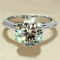 Real 14K Solid White Gold Fn 1.80Ct Round Moissanite Anniversary Engagement Ring