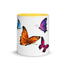 White Butterfly Mug with Color Inside