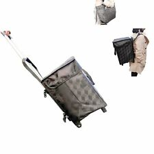 Fineget Foldable Grocery Shopping Trolley Bag Cart with Backpack Straps Black