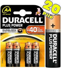 20 BATTERIE ALCALINE  AA STILO DURACELL PLUS POWER DURALOCK Scad. 2024