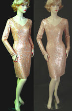 $1895 NWT ST JOHN COUTURE ALL-OVER SEQUIN DRESS sz 2 FITTED LONG SLEEVES V-NECK