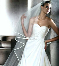 Neuf ! 3m ! Voile de mariée avec peigne simple couche ganse satin  blanc réf V09