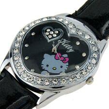 Reloj Hello Kitty watch  Corazón negro con brillantes Precioso A1063