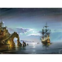 Sea Boat DIY Paint By Numbers Kit Digital Oil Painting Canvas Wall Art Decor