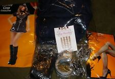 Candy Cop Costume Lot-Handcuffs-Badge-Hat-Fishnets+Sexy Police Womens XL 12-14