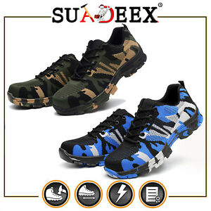 Mens Sneakers Work Safety Shoes Mesh Steel Toe Cap Breathable Boots Size US
