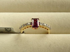 Rare Comeria Grape Garnet & White Zircon 10K Yellow Gold Ring Size N-O/7 RRP£214