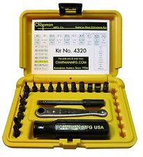 Chapman MFG #4320 Allen Hex Set American Made Screwdriver and Mini Ratchet Bit