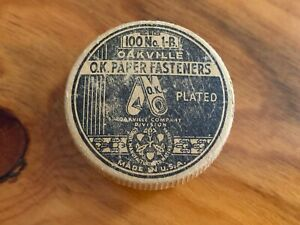 Vintage Round Box Oakville O.K. Paper Fasteners Plated 100 No. 1-B