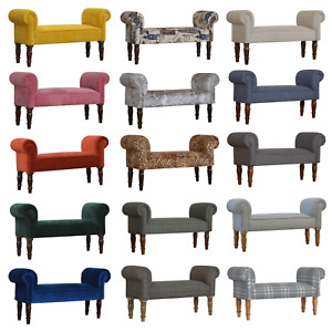 Upholstered Wooden Bench Seat Tweed Velvet Fabric Hallway Furniture End Stool 2