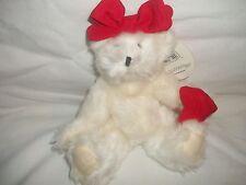 NEW Hallmark Valentine's White Plush Stuffed Emily Jointed Teddy Bear Red Heart