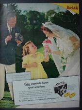 1951 Kodak Camera Film Wedding Bride with Flower Girl Vintage Print Ad 12524