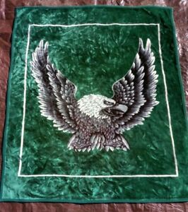 Bald Eagle Mink Soft Plush Queen Size Blanket Green Heavy 75x89 inches