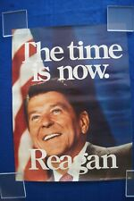 "VINTAGE ""THE TIME IS NOW"" RONALD REAGAN 1980 CAMPAIGN POSTER 18 x 24"""