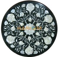 """18"""" Round Marble Coffee Table Top Mother of Pearl Floral Inlay Home Decors B165"""