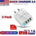 2PACK 4 Port Fast Quick QC 3.0 USB Hub Wall Charger Power Charge Adapter US Plug