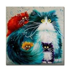 Paint By Number Kit Abstract Colorful Fluffy Cat Cubs DIY Picture 40x50cm Canvas