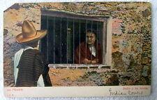 POSTCARD MAN LOOKING AT WOMAN BEHIND IRON BARS MEXICO INDIO Y SU NOVIA #44sz