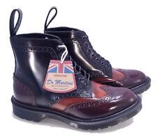 Dr. Martens Doc MIE England Merlot Tan Black Anthony Boanil Brush Boot UK 6 US 7