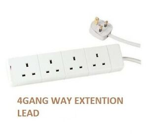 4 WAY 4 GANG EXTENSION LEAD EXTENTION LEAD 2M 4 SOCKETS 13AMP PLUG 3 PIN MAINS