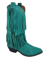 Smoky Mountain Studs Womens TEAL Genuine Leather Fringes Cowboy Boots 9 9.5 10 M