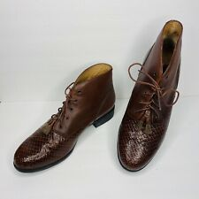 Ariat Ankle Boots 16024 Brown Leather Woven Toe Horse Hair Tassel Shoes Size 9.5