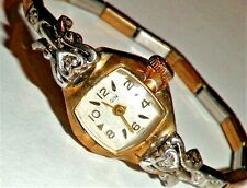 Vintage 10k Rolled Gold Diamond Elgin Ladies Watch Manual Wind Working