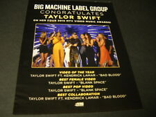 TAYLOR SWIFT is BEST - BEST - BEST 2015 Promo Poster Ad mint condition