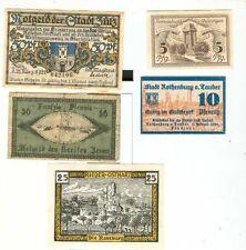 Notgeld:Ronnerberg,Zülz,Rothenburg,Zeven,Rieder 5 Stueck
