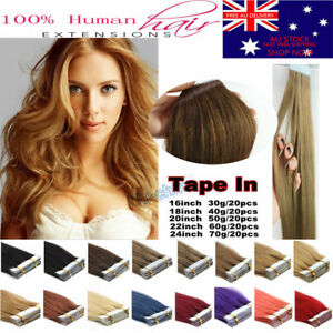 """14""""-22"""" Tape In 100% Remy Human Hair Extensions Skin Weft Seamlees 20pcs AU"""