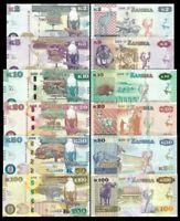ZAMBIA Set 6 PCS  2-5-10-20-50-100 Kwacha 2012-2018 NEW UNC