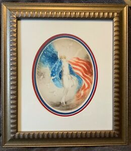 """Artist Louis Icart 1927 Etching """"Miss America"""" Framed 19x16.5"""" Wall Art"""