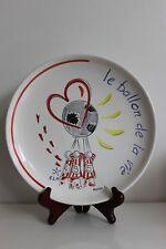RARE Assiette HB QUIMPER Signée MARINE D pour Association Ballon de Vie et ELA