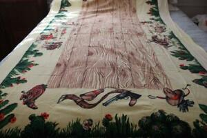 Round Tablecloth Horse Brown Cowboy Pony Western Cotton Sateen