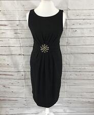 Eliza J Women's Scuba Sheath Dress Ruched Waist Black Rhinestones Size 8