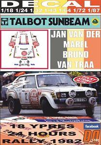 DECAL TALBOT SUNBEAM LOTUS J. VAN DER MAREL YPRES R. 1982 5th (06)