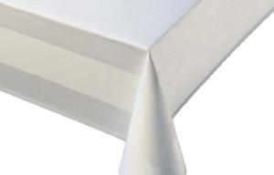 Tischdecke Breite 130 cm - Länge wählbar - 100% Baumwolle Meterware Damast Weiss