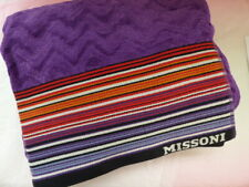 Missoni Beach towel NEW violet zigzag XL cotton rainbow stripes purple