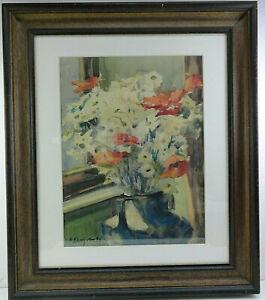 altes Aquarellgemälde Stillleben Blumen mit Vase 1935