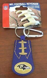 BALTIMORE RAVENS Purple Leather NFL Football Carabiner Keychain