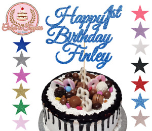 Happy Birthday, Glitter Cake Topper Decorations, any word, 1st, 2nd, 18th, 40th