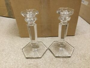 2 Vintage Glass Candle Holders 17cm tall